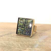 Abstract Ring, Mixed Metal Ring, Bezel Ring, Brass Square Ring, Unique Ring, Metal Print, Green and Gold Ring