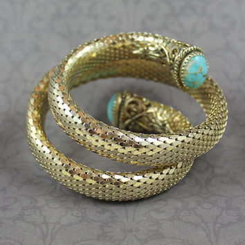Vintage Whiting and Davis Gold Mesh Coiled Bracelet with Faux Turquoise Cabochons