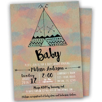 Tribal Teepee Baby Shower Invitation - Pow Wow Baby Shower Invitations - Girl Boy Turquoise Bohemian Baby Shower Invite - Printed Custom