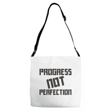 progress not perfection Adjustable Strap Totes