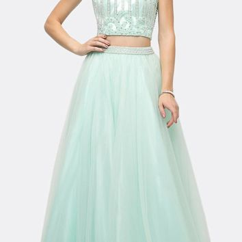 Beaded Bodice 2 Piece Halter Ball Gown Long Mint