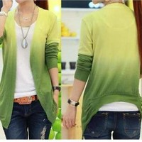 Green Color Gradient Cardigan for Girls Ladies