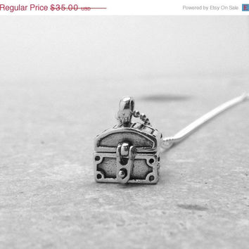 Valentines Day Sale Treasure Chest Necklace, Sterling SIlver