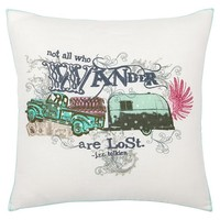Junk Gypsy Sequin Embroidered Pillows, Not All Who Wander Are Lost