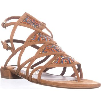 Salvatore Ferragamo Essie Double Buckle Flat Sandals, Sella, 7 US