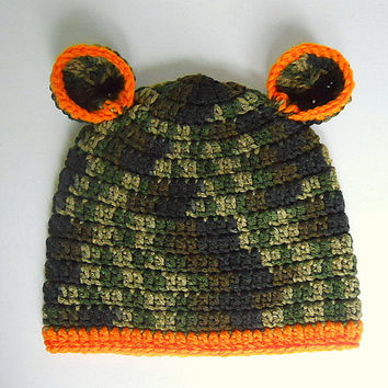 1 To 2  Year Old Toddler Boy Camouflage Hat With Orange Trim Green Camo Baby  Girl  Cap With Ears  Infant  Children  Fall Hunting Beanie