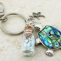 Sea Turtle Keychain with Healing Turquoise Stones