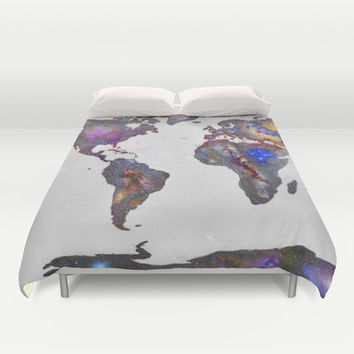 Stars world map Duvet Cover by Guido Montañés