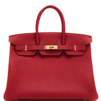 Hermes 35Cm Rouge Garrance & Rubis Clemence Leather Horseshoe Birkin by Heritage Auctions Special Collections - Moda Operandi