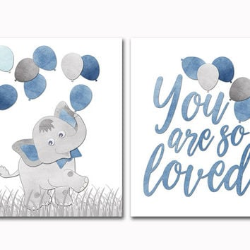 Grey blue elephant with balloons nursery art baby boy room wall decor you are so loved poster shower decoration toddler artwork kids gift