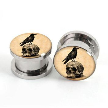 ac PEAPO2Q Pair of Vintage Skull Birds plug gauges stainless steel screw fit ear plugs flesh tunnel ear expander SPP033