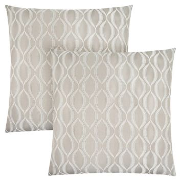 "Pillow - 18""X 18"" / Taupe Wave Pattern / 2Pcs"