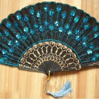 Peacock Pattern Sequin Fabric Hand Fan Decorative 8 Color [9325217988]