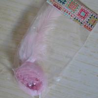 Feather hair clip. Pink flower with feather. No slip grip clip. -ONE of A KIND- (Made by lippy brand)