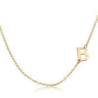 Sideways One Letter  Initial Necklace  - 18kGold Plated .925 Sterling Silver