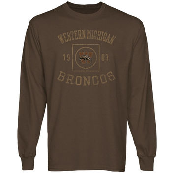 Western Michigan Broncos University Lockup Long Sleeve T-Shirt - Brown