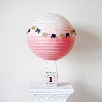 Hot Air Balloon Decorations -Baby Shower Centerpiece Decoration - Bridal Shower Decor - First Birthday - Pink and Gold Party -Up up and away