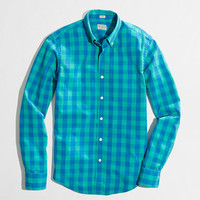 FACTORY SLIM WASHED SHIRT IN DOUBLE GINGHAM