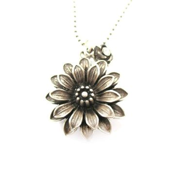 Beautiful Classic Dahlia Flower Floral Pendant Necklace in Silver | DOTOLY