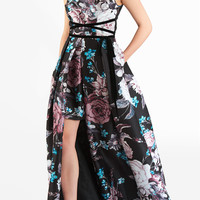 Empire tie waist floral print dupioni maxi dress
