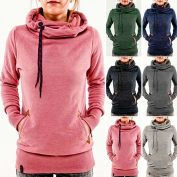 Women Long Sleeve Hooded Hoodies Pullover Coat Sweatshirt Ladies Jumper Sweater