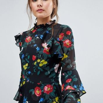 Miss Selfridge Floral Print Asymmetric Ruffle Detail Midi Dress at asos.com