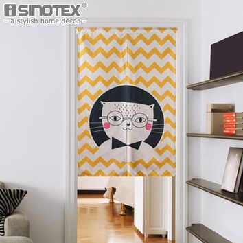 Japanese Door Curtain Linen Cotton Cartoon Printed Short Curtains for Living Room Creative Kitchen Door Curtains Home Decoration
