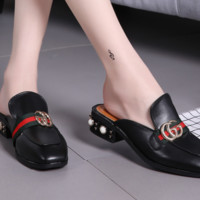 GUCCI Fashion summer new pearl slippers sandals shoes Black