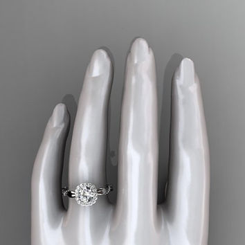 14kt white gold  diamond leaf and vine wedding ring,engagement ring with a moissanite center stone ADLR337