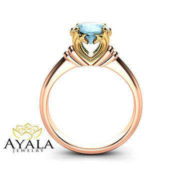 Solitaire Aquamarine Promise Ring 14K Rose and Yellow Gold Engagement Ring Victorian Ring Anniversary Gift