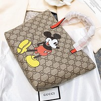 GUCCI Women Mickey Mouse Print Leather Tote Handbag Shoulder Bag