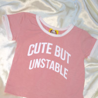 SWEET LORD O'MIGHTY! CUTE BUT UNSTABLE RINGER TEE IN PINK