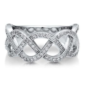 Sterling Silver 925 Cubic Zirconia CZ Accent Woven Fashion Band Ring #r504