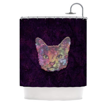 "Ancello ""Rainbow Cat"" Pastel Purple Shower Curtain"