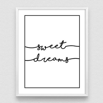 Sweet Dreams Print, Sweet Dreams, Nursery Printable, Nursery wall decor, Bedroom art, Wall Art, kids quote, kids quotes from mom