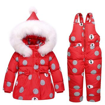 Russian Winter Jacket Duck Down Coat Toddler Girls Boys Snowsuit Clothing Sets Thick Coat+Bib Pants Thickening Warm Outerwear