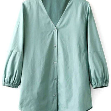 V-Neck Solid Color Balloon Sleeve Blouse