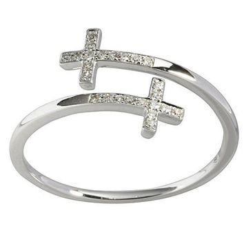 0.06 ct. t.w.  Diamond Ring in Solid 14K white Gold Cross