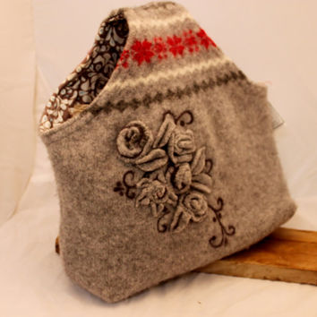 Purse, Wet Felted & Needle Felted  ART  Purse