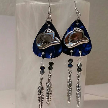 Guitar Pick Jewelry By Betsy's Jewelry - Guitar Pick Earrings - Country Western - Rodeo - Cowboy Hat - Cowboy Boots