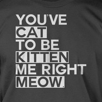 You've Cat To Be Kitten Me Right Meow Funny Cool Geek Nerd Shirt T-Shirt Large