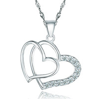 Diamond Accent 925 Sterling Silver Double Open Heart Pendant Necklace Gift Women, Sterling Silver Necklaces, Pugster Gift Center | Pugster.com