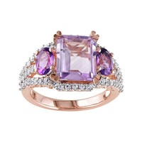 Gemstone Sterling Silver 3-Stone Ring (Rose/Stone/Amethyst)