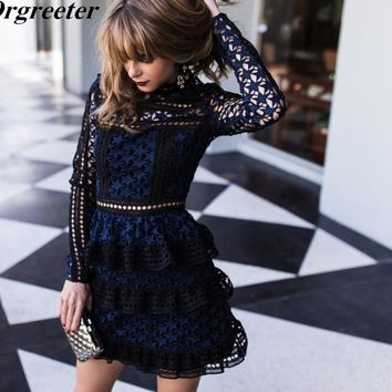 High Quality Celebrity Runway Women Lace Party Dress Cascading Ruffles Sexy Mini Short Above Knee Cake Dress New arrived