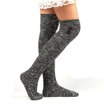 Over The Knee Socks Mixed Color Warm Autumn Winter High Socks Button Cotton Japanese Kawaii High Socks Calcetines Mujer Largos#F