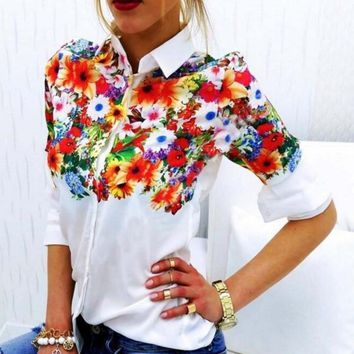 Floral Flower Printing Lapel Top