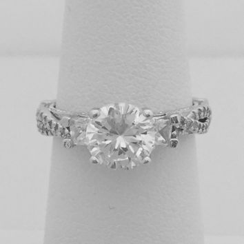Vintage Look 1.25 Carat Cubic Zirconia Engagement Ring with Princess Cut CZ on Twisted Shank Setting