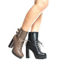 Veronica08 Black Pu By Wild Diva, Lace Up Combat Lug Sole Platform Stacked High Heel Ankle Boots