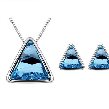 Triangle Silver Pleated Necklace Earrings Jewelry Set for Women