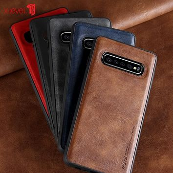 Leather Case For Samsung Galaxy S10 Plus Original Soft Silicone Edge Back Phone Cover For Samsung S10 S10e S10+ Case